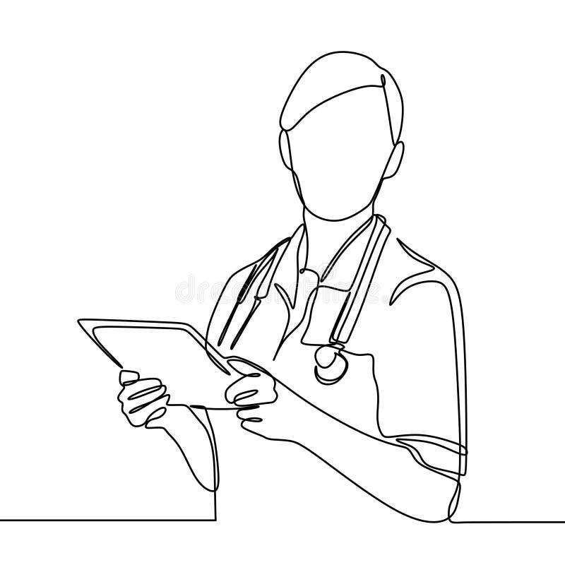 画医药一医生手拉的护士实线隔绝在白色背景最小的设计 向量例证