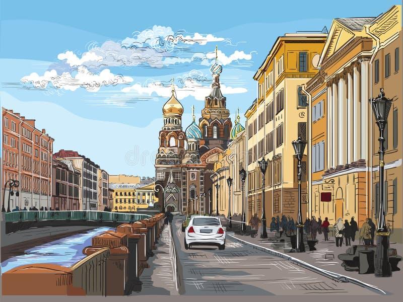 画圣彼德堡4的五颜六色的传染媒介手 库存例证