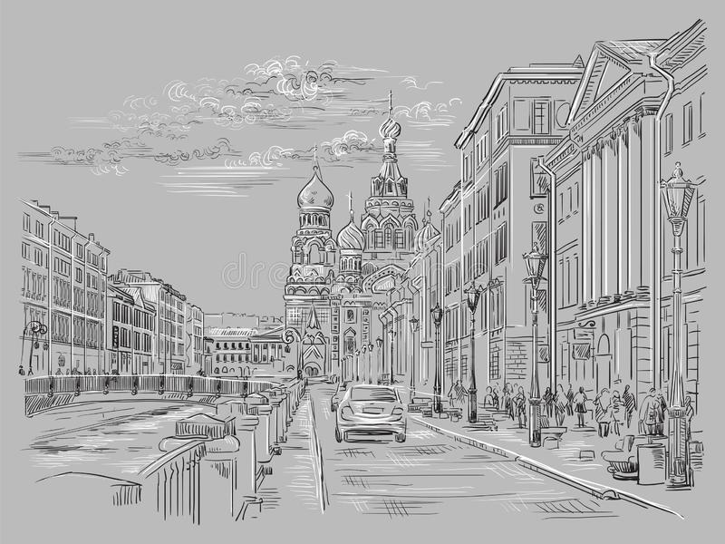 画圣彼德堡4的灰色传染媒介手 库存例证