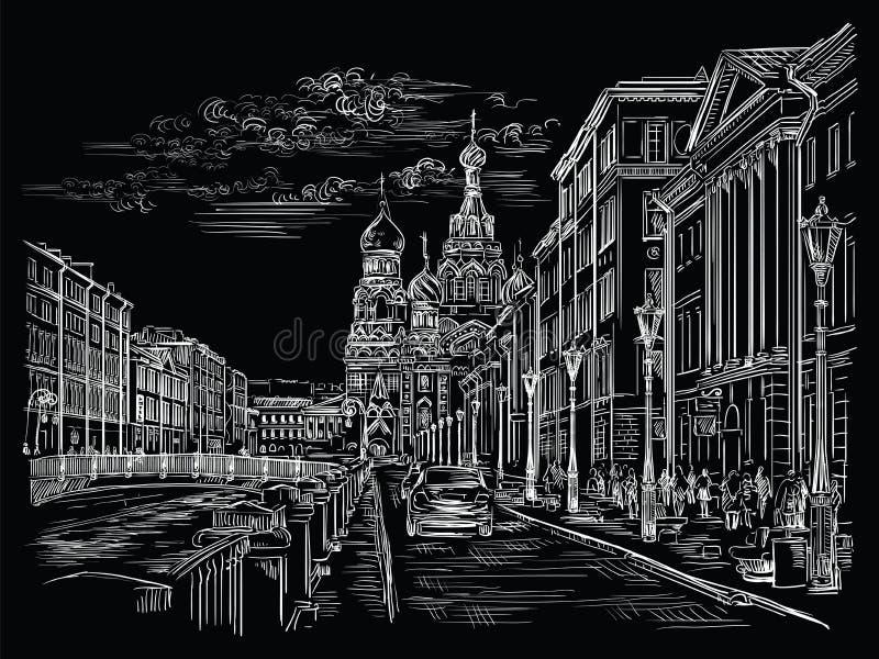 画圣彼德堡4的黑传染媒介手 库存例证