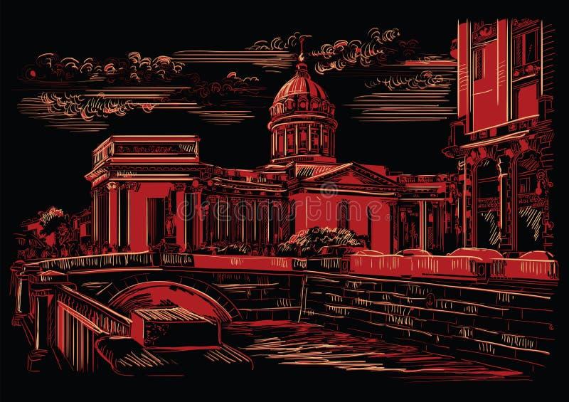 画圣彼德堡5的黑和红色传染媒介手 皇族释放例证
