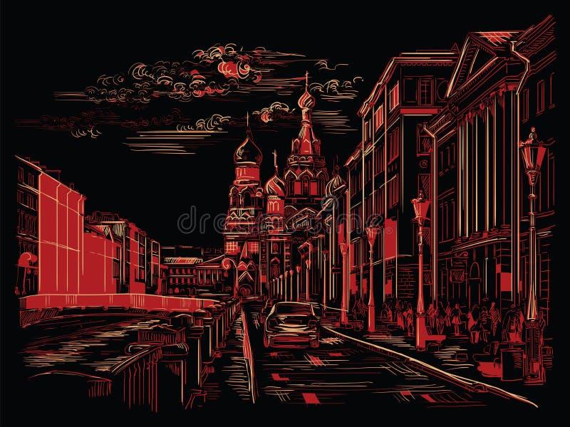 画圣彼德堡4的黑和红色传染媒介手 向量例证