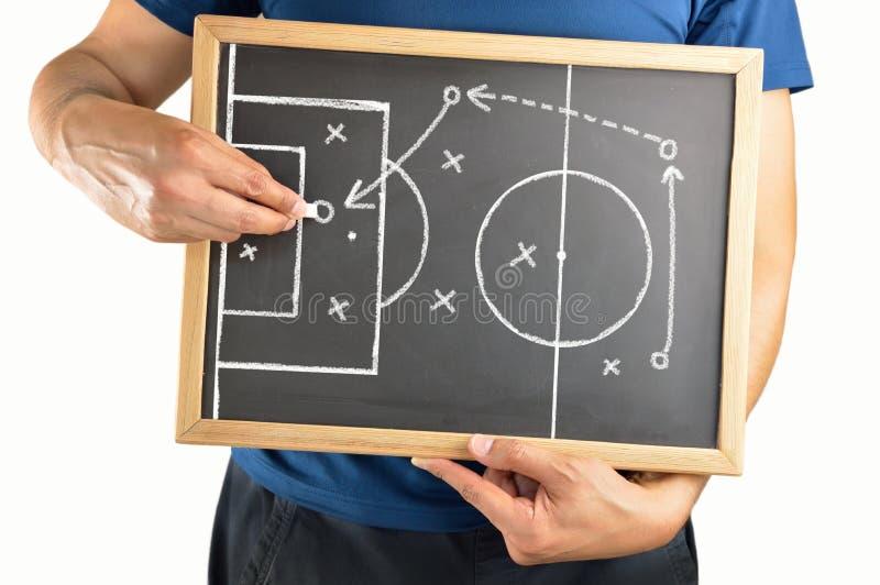 画在黑板的足球战术 库存图片