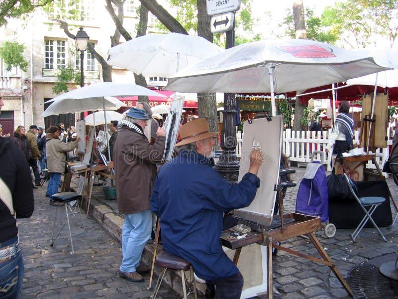 画家在Monmartre巴黎法国 免版税库存图片