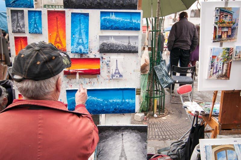 画家巴黎街道 图库摄影