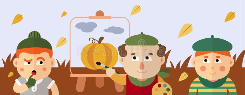 画家画秋天风景用南瓜和云彩 库存照片