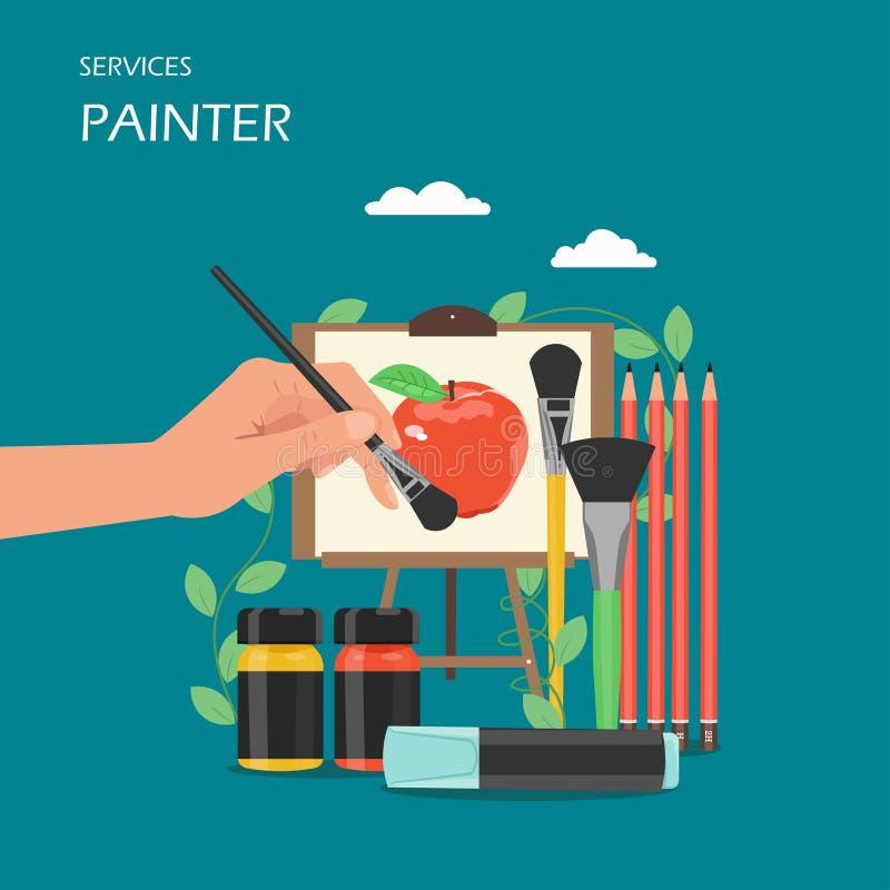 画家艺术家服务导航平的样式设计例证 库存例证