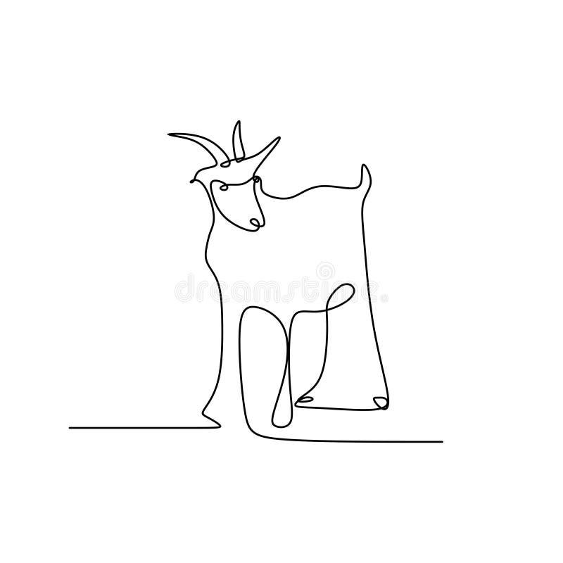 画山羊一个实线  向量例证