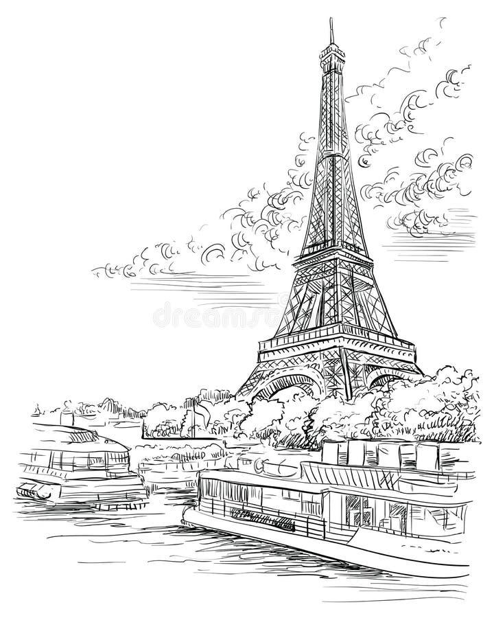 画巴黎3的传染媒介手 库存例证