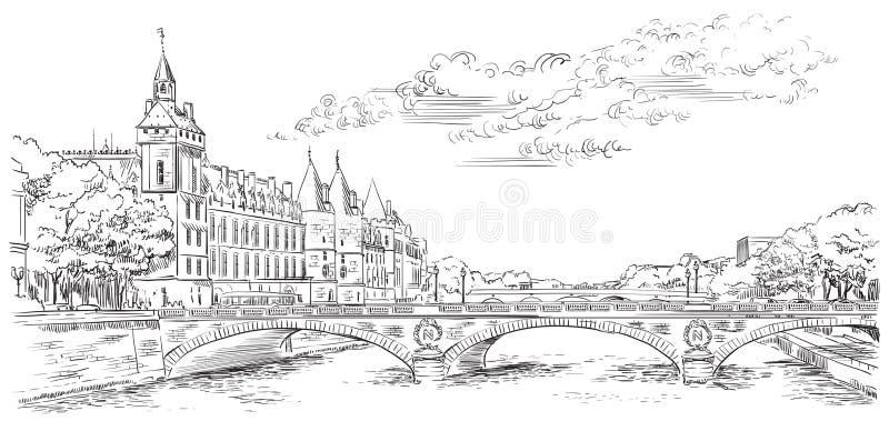 画巴黎5的传染媒介手 向量例证