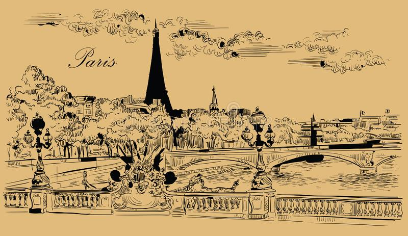 画巴黎8的米黄传染媒介手 皇族释放例证