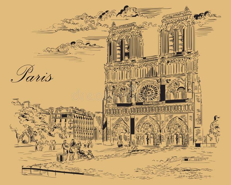 画巴黎2的米黄传染媒介手 库存例证