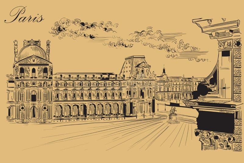 画巴黎10的米黄传染媒介手 向量例证
