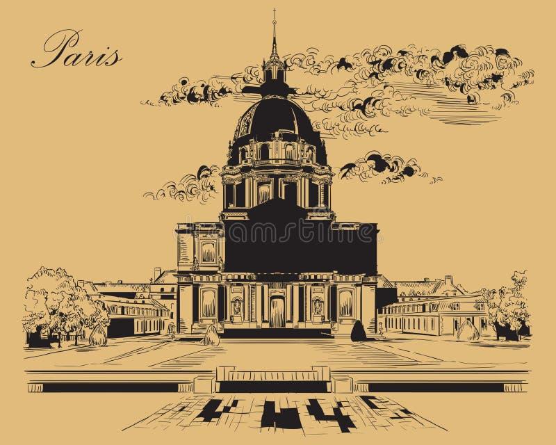 画巴黎6的米黄传染媒介手 皇族释放例证