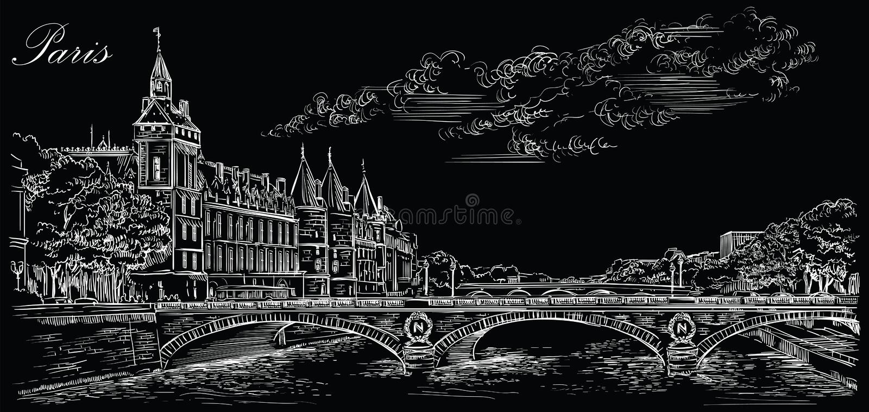 画巴黎5的黑传染媒介手 库存例证