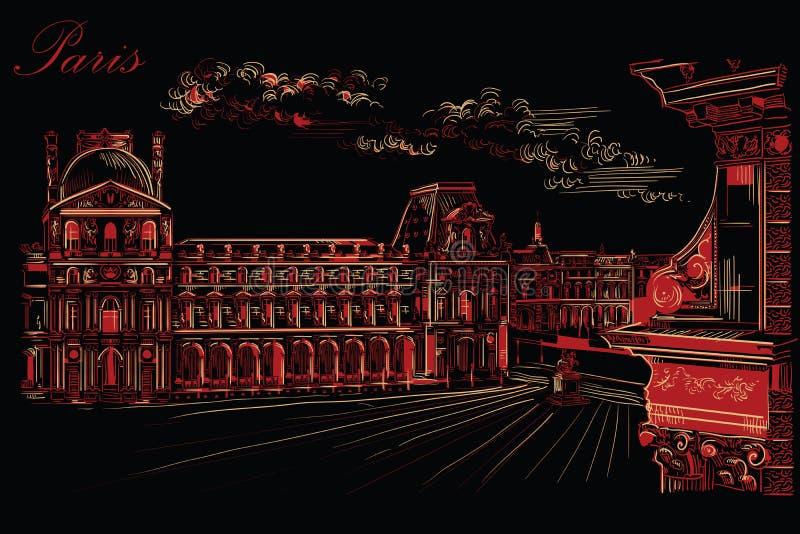 画巴黎10的黑和红色传染媒介手 向量例证