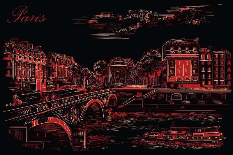 画巴黎7的黑和红色传染媒介手 向量例证