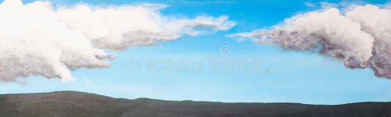 画布多云被绘的天空 图库摄影