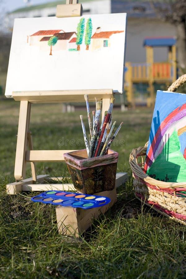 画布画架油漆刷 免版税图库摄影