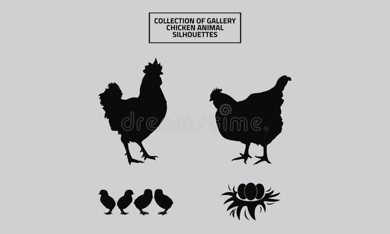 画廊鸡动物剪影的传染媒介汇集 向量例证