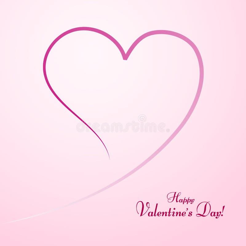 画心脏桃红色线以情人节快乐爱和婚姻模板的标志的形式心脏文本  皇族释放例证