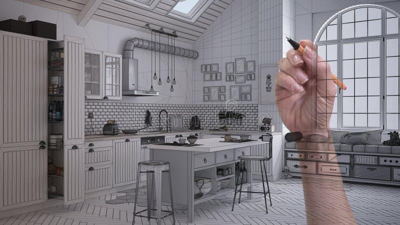 画斯堪的纳维亚样式的手习惯现代最低纲领派白色当代厨房 与枕头的床关闭  被剪裁的unfini 免版税库存照片