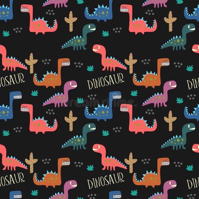 画无缝的样式背景的幼稚恐龙 皇族释放例证