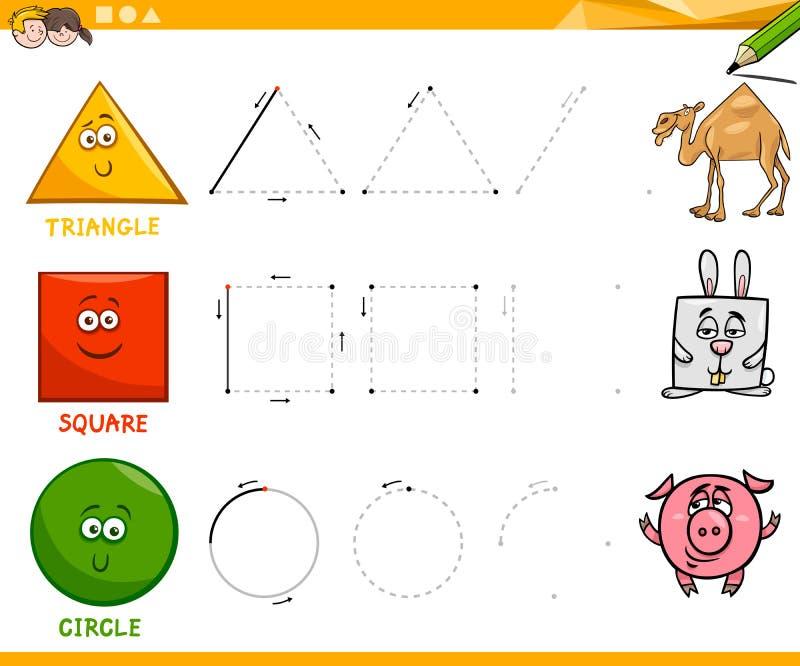 画活页练习题的基本的几何形状 皇族释放例证