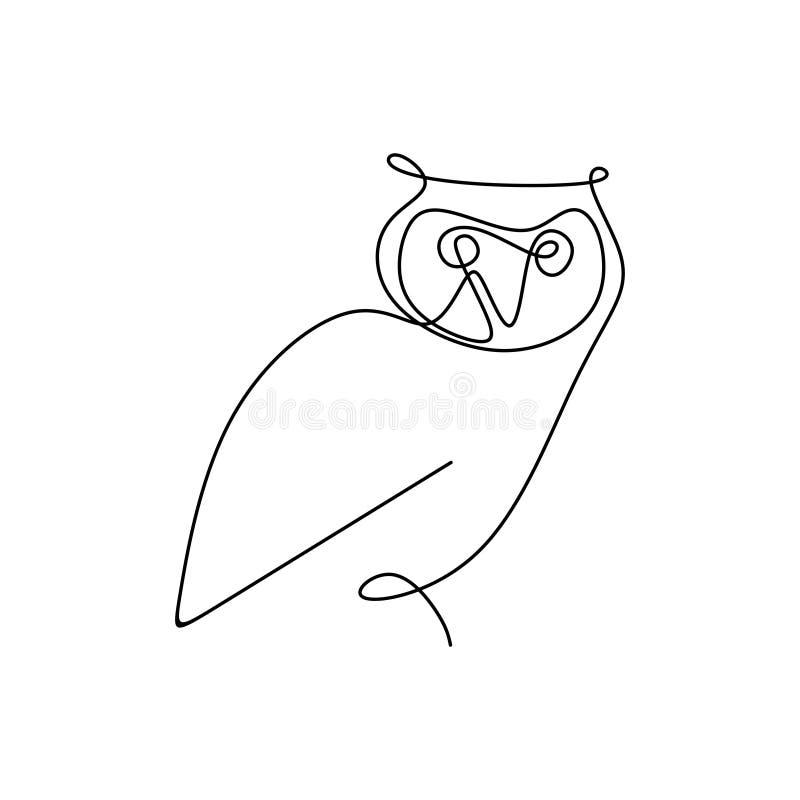 画猫头鹰一个实线与一个简单设计的 向量例证