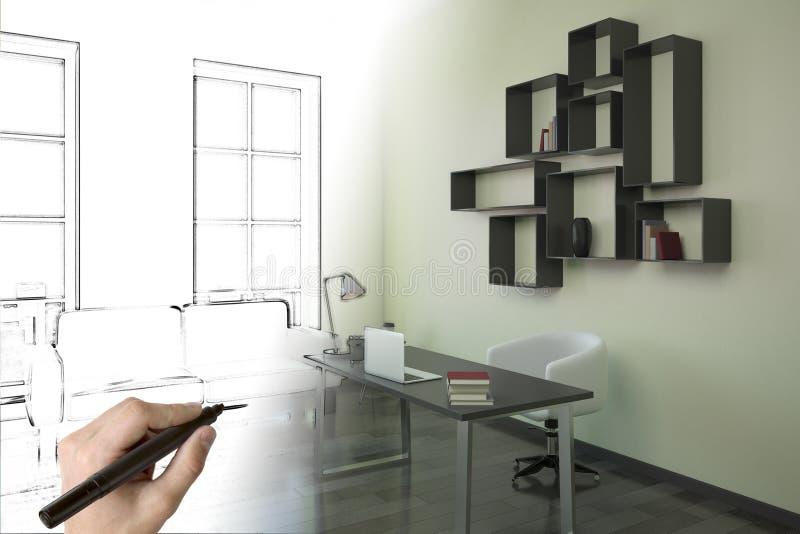 画现代办公室内部的手 库存例证