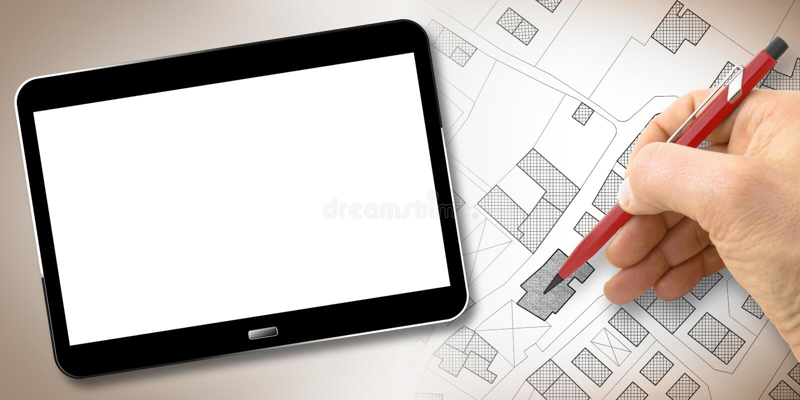 画疆土的一个虚构的地籍图有大厦、领域、路和土地分配的-建设活动概念手 免版税库存图片