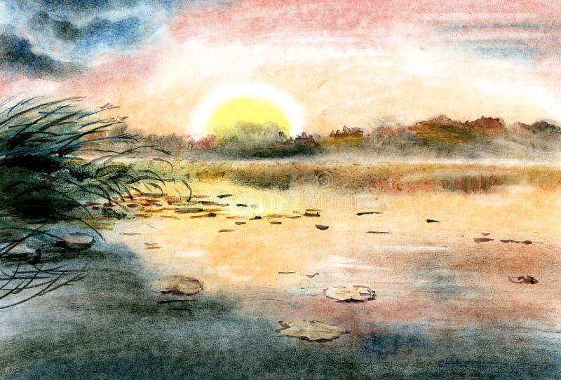 画的例证水彩 在平衡的湖、在湖和天空蔚蓝上反映的太阳落山、桃红色 库存例证