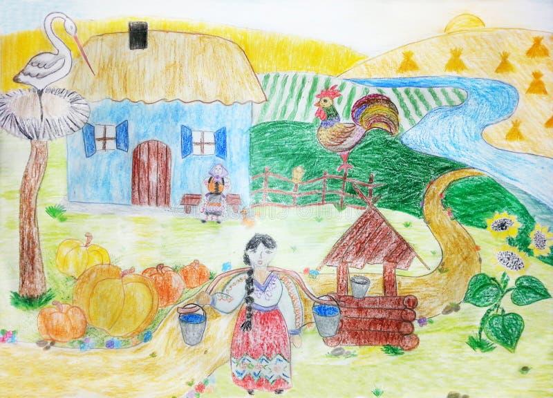 画的农村风景 农场,农业场面 向量例证