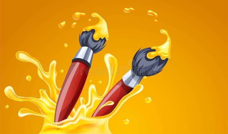 画的创造性的艺术刷子与黄色油漆 r 库存例证
