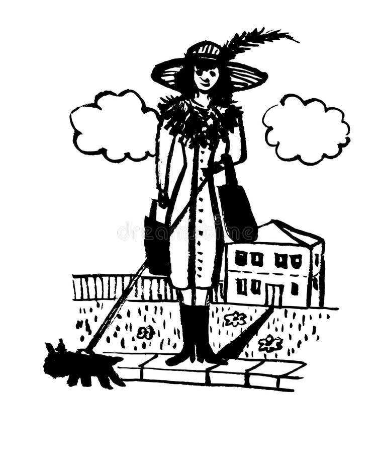 画的可笑的葡萄酒生动描述有狗的,剪影,手拉的传染媒介例证夫人 皇族释放例证