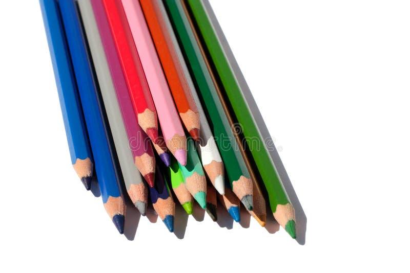 画的多颜色铅笔在被隔绝的白色背景 库存照片