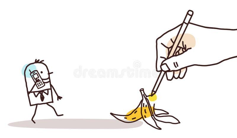 画的大手动画片走的人和香蕉果皮 向量例证