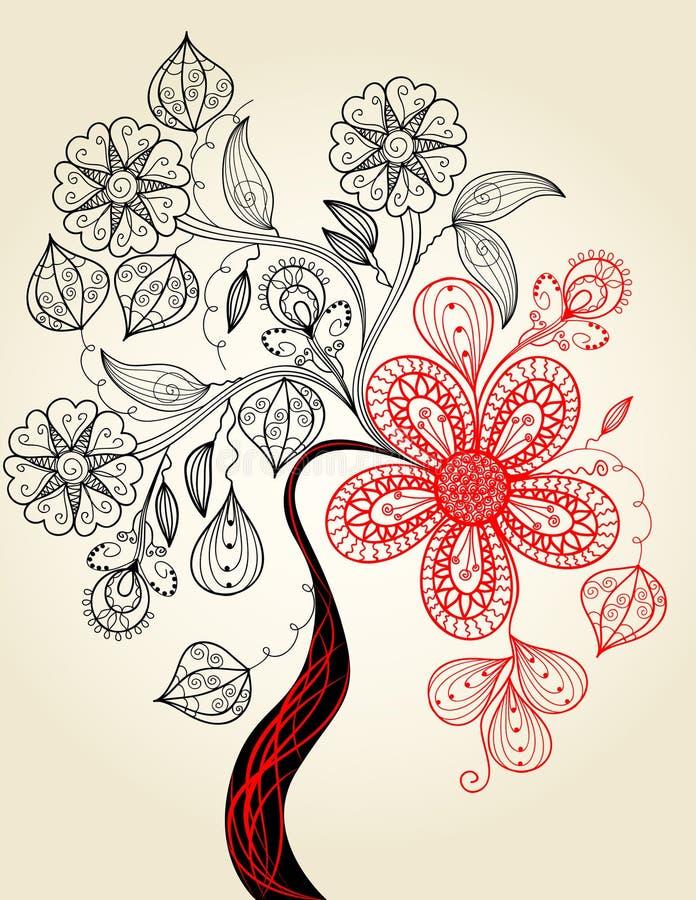画的开花的现有量例证结构树 向量例证