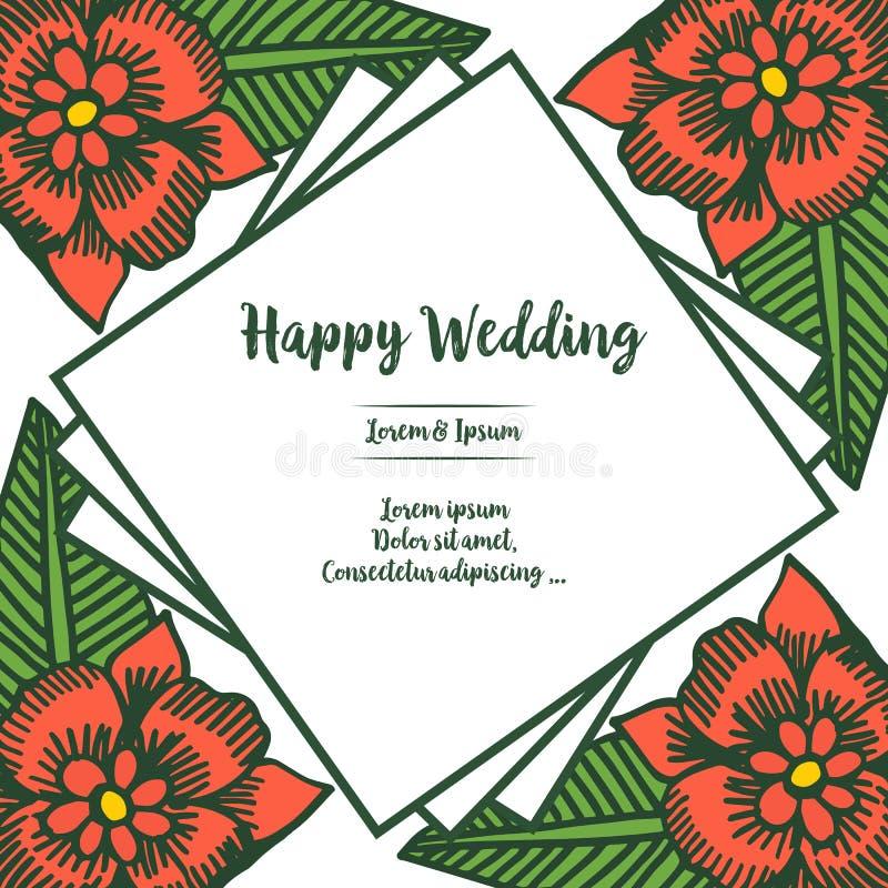 画的开花花,与设计方形的框架,在上写字愉快的婚礼,各种各样的请帖的装饰 ?? 皇族释放例证