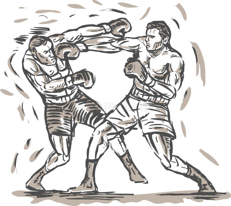 画的拳击手猛击二 向量例证