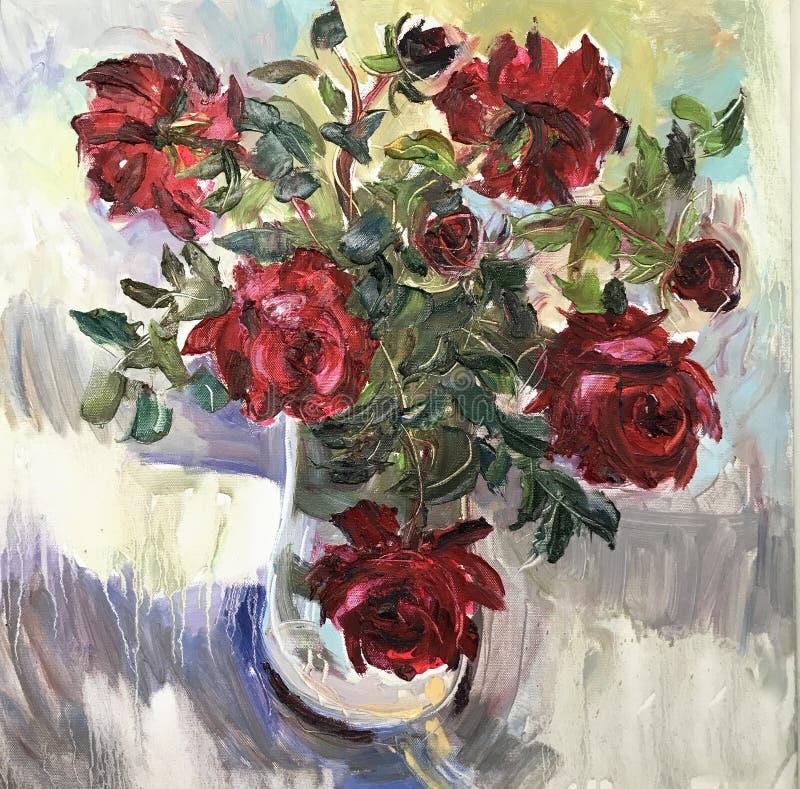 画的明亮的好日子,在花瓶的早晨花 库存例证