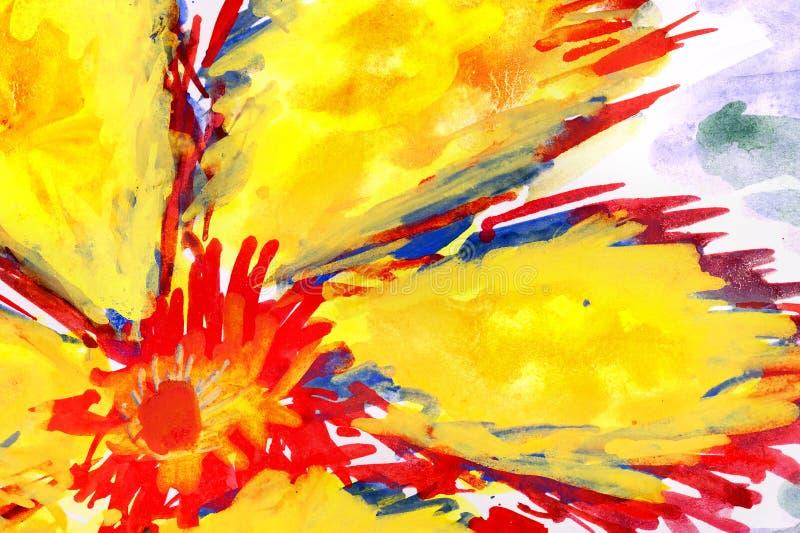 画的火热的花水彩 库存例证