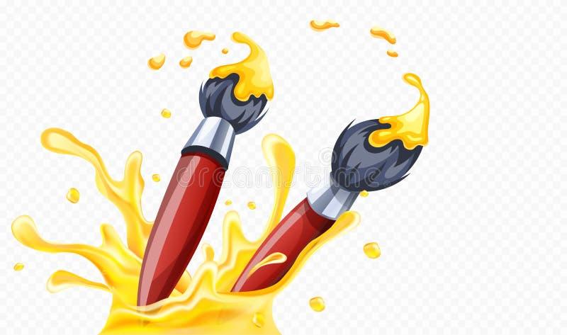 画的艺术刷子与黄色油漆 r 皇族释放例证