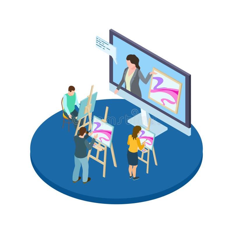 画的路线导航概念 与等量艺术家和老师的网上艺术教育 向量例证
