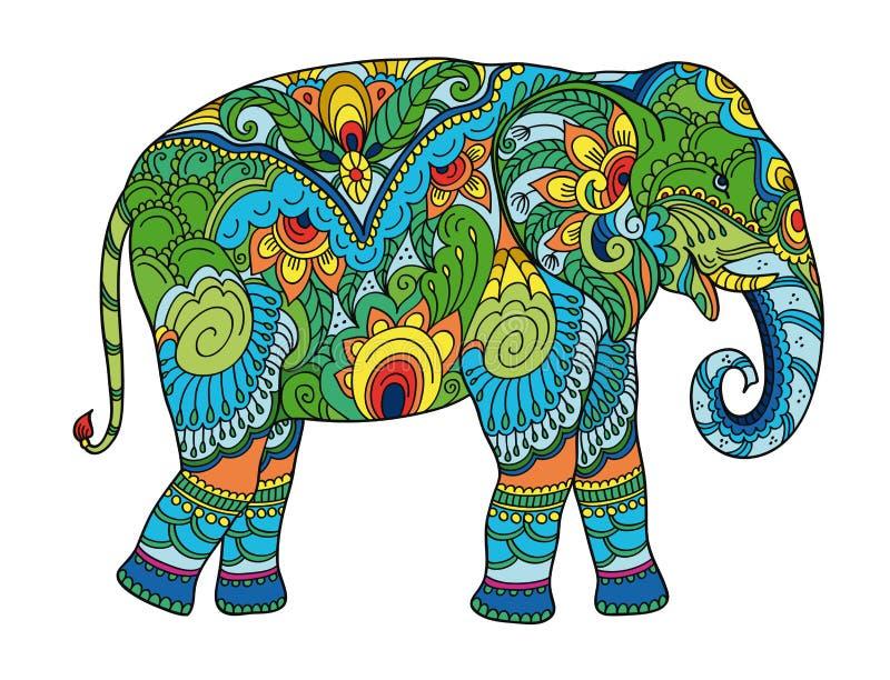 画的风格化大象 成人反重音彩图的徒手画的剪影 库存例证