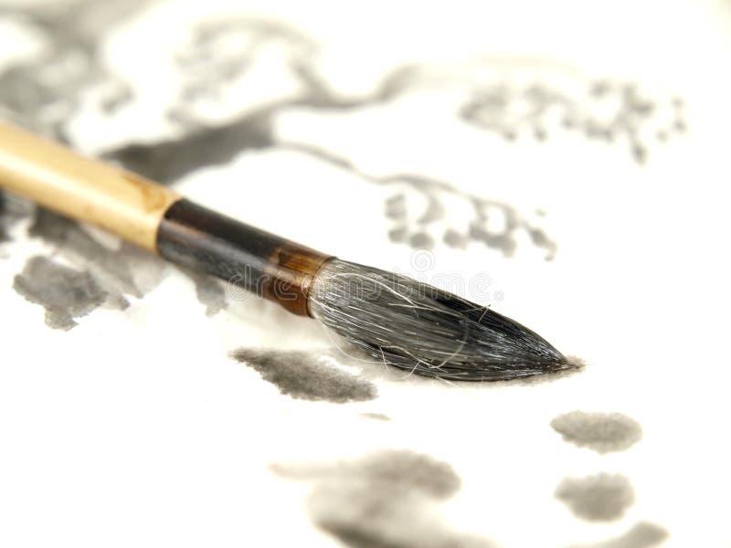 画笔中国人墨水 免版税库存图片