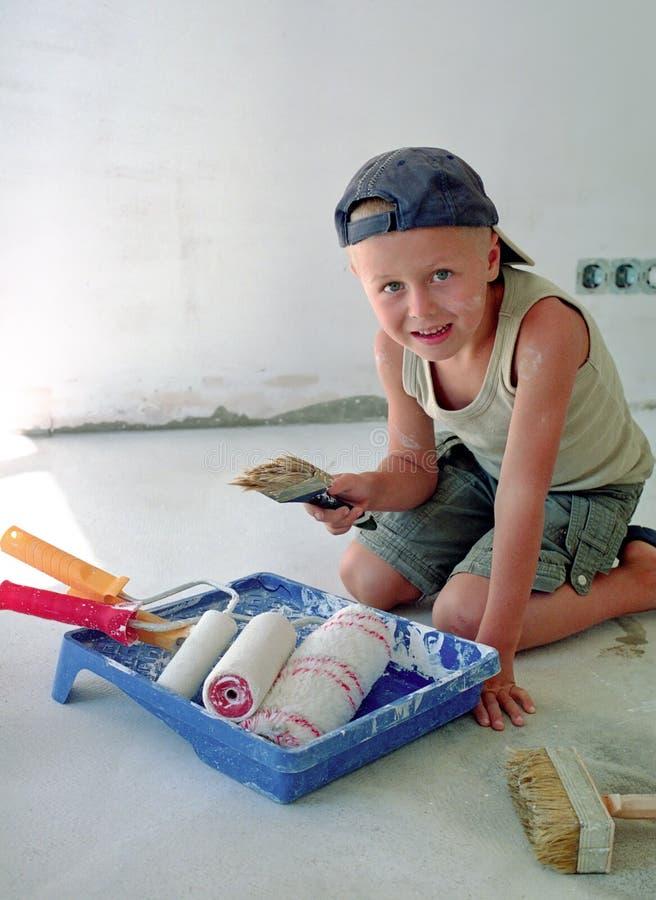 画笔儿童油漆 库存照片