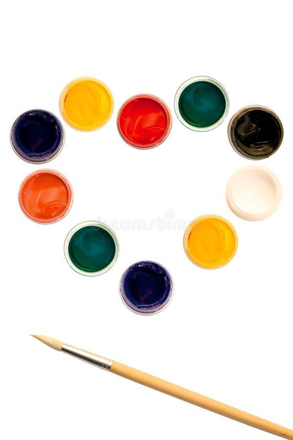 画笔树胶水彩画颜料集 免版税库存图片
