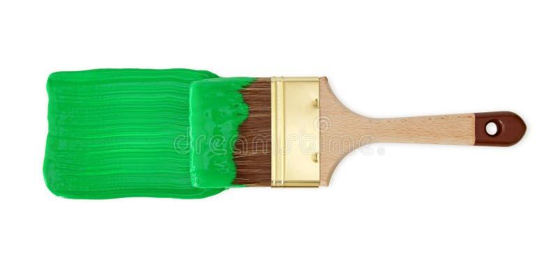 画笔绿色油漆 库存照片