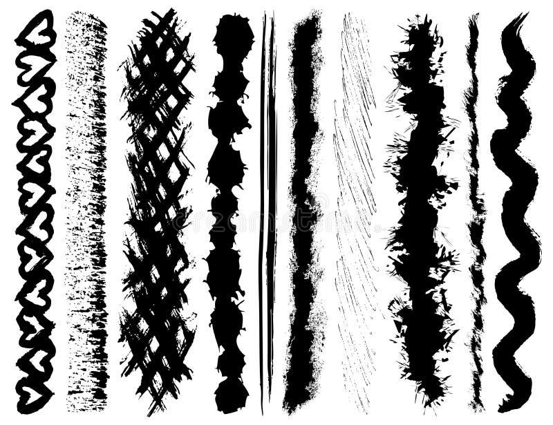 画笔grunge墨水冲程 向量例证